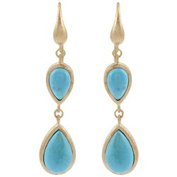 Rivka Friedman 18k Gold Overlay Blue Magnesite Earrings