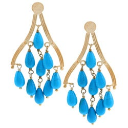 Rivka Friedman Gold Overlay Blue Magnesite Chandelier Earrings