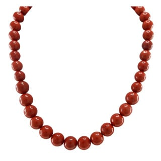 Pearlz Ocean Red Jasper Necklace with Sterling Silver Clasp