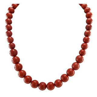Pearlz Ocean Red Jasper Necklace with Sterling Silver Clasp Jewelry for Womens