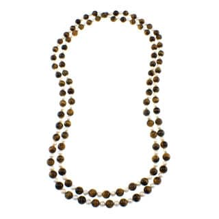 Pearlz Ocean Tiger's Eye and Freshwater Pearl Endless Necklace