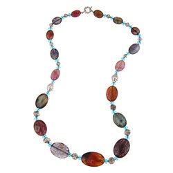 Pearlz Ocean Multi Agate Oval Bead Necklace