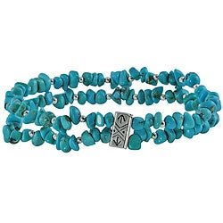 Southwest Moon Sterling Silver Turquoise Chip 2-strand Stretch Bracelet