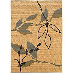 LNR Home Opulence Cream/ Blue Floral Area Rug (9'2 x 12'5)