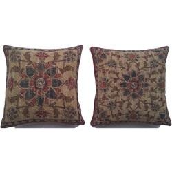 Belgium Woven Floral Decorative Pillows (Set of 2)