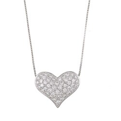 Kabella 18K White Gold 1/2ct TDW Diamond Heart Necklace