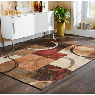 Blocks and Rings Brown/ Black Area Rug (5'3 x 7'6)