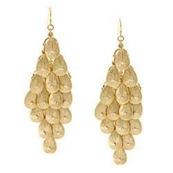 Kate Bissett Gold Overlay Clear Crystal Chandelier Earrings