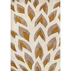 Handmade Flame Inspiration Beige Wool Rug (8' x 10')