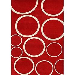 Alliyah Handmade New Zeeland Blend Red Circle Wool Rug (8' x 10')