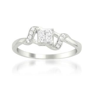 Montebello 14k White Gold 1/4ct TDW Multi Stone Princess Cut Diamond Ring (H-I, I2-I3)