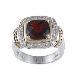 14k Gold/ Silver Garnet and 1/10ct TDW Diamond Ring (J-K, I1-I2) Size 7