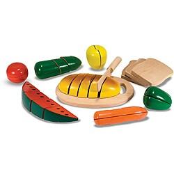 Melissa & Doug 30-piece Wooden Cutting Food Box Pretend Play Set