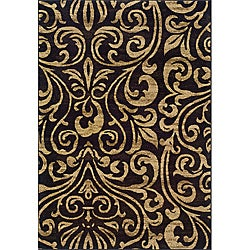 Indoor Black/Brown Abstract Area Rug - Thumbnail 0