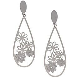 La Preciosa Stainless Steel Flower Design Teardrop Earrings