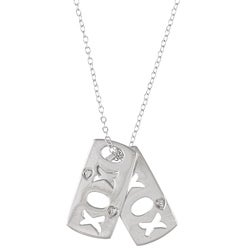 Sterling Silver Diamond Accent 'XOXO' Dog Tag Necklace