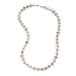Alexa Starr Silvertone Grey Glass Bead Long Necklace
