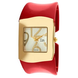 Viva Silvertone Red Cuff Watch