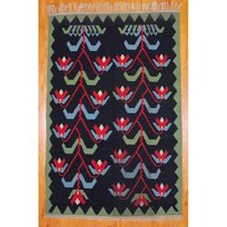 Thumbnail 1, Indo Hand-Woven Kilim Black and Green Wool Rug (7'2 x 10'10).