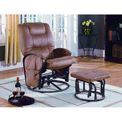 Shop Tan Padded Microfiber Swivel Rocker Recliner And