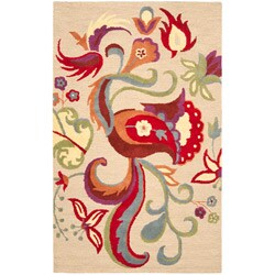 Safavieh Handmade Blossom Beige Wool Rug - 8' x 10' - Thumbnail 0
