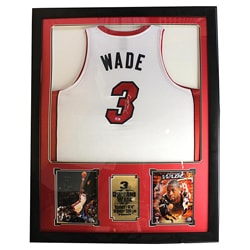 Dwayne Wade Autographed Jersey in Deluxe Frame (36 x 44) - Thumbnail 0