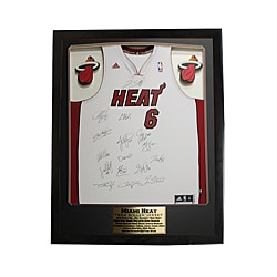Miami Heat Team Autographed Jersey in a Deluxe Frame Shadow Box