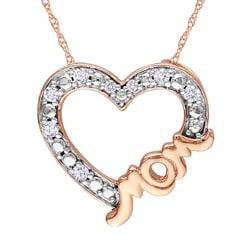 Miadora 10k Pink Gold 1/10ct TDW Diamond Heart Necklace (G-H, I2-I3)