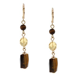 Alexa Starr Goldtone Tiger's Eye Linear Drop Earrings