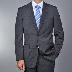 Men's Slim Fit Black Striped 2-button Suit
