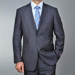 Men's Slim Fit Black Teakweave 2-button Suit