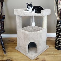 New Cat Condos Wood/Carpet/Sisal Rope 33-inch Corner Roost Sturdy Cat Tree