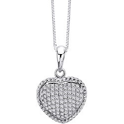 14k White Gold 1/3ct TDW Diamond Heart Necklace (G-H, I1-I2)