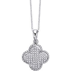 14k White Gold 1/3ct TDW Diamond Clover Necklace (G-H, I1-I2)