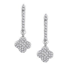 14k White Gold 1 3ct TDW Diamond Clover Earrings