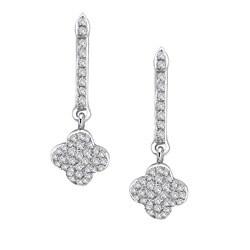 14k White Gold 1/3ct TDW Diamond Clover Earrings