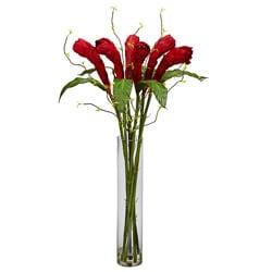 Cylinder Vase Ginger Silk Flower Arrangement