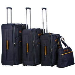 Shop Nautica Helmsman Navy Yellow 4 Piece Luggage Set
