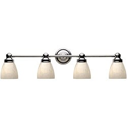 World Imports Troyes Collection Open White Art Glass 4-light Bath Bar