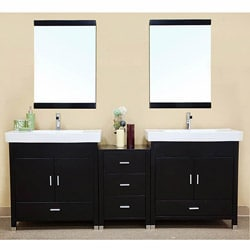 Virtu usa dior 82 inch double sink vanity set in zebra - 50 inch double sink bathroom vanity ...
