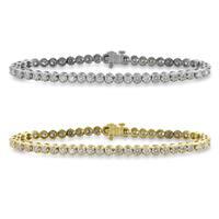 Auriya 14k Gold 6.5 to 8.5-inch 3ct TDW Round Diamond Tennis Bracelet
