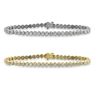 Auriya 14k Gold 6.5 to 8.5-inch 3ct TDW Round Diamond Tennis Bracelet