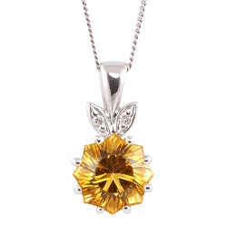 Michael Valitutti 14k White Gold Citrine and Diamond Accent Necklace