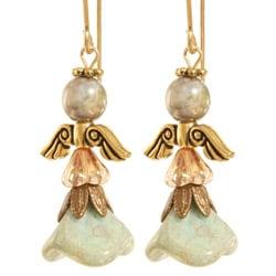 Fourteen-karat Gold Fill 'Sachael' Angel Earrings