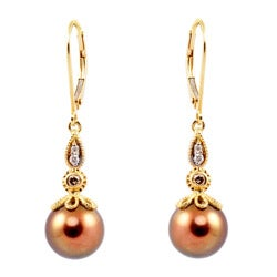 Michael Valitutti 14k Gold Tahitian Pearl and 1/6ct TDW Diamond Earrings (I-J, I1-I2) (9-9.5 mm)