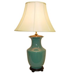 Teal Round Vase Porcelain Table Lamp