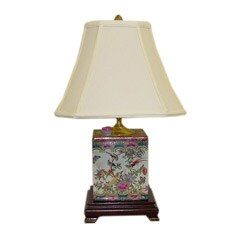Rose Medallion Porcelain Box Table Lamp
