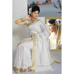 White Golden Border Fabric Sari (India)