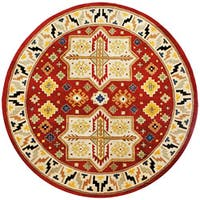 Hand-tufted Virtu Red Wool Rug (8' Round)