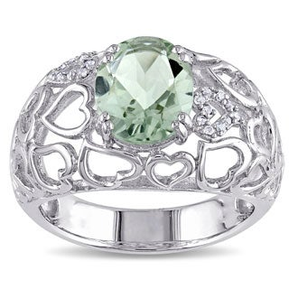 Miadora Sterling Silver Oval Green Amethyst and Diamond Accent Ring